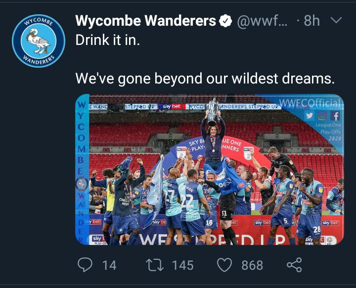 Screenshot 20200714 074330 531c504952cf39fe3345b666a7b81f52 - Wycombe's promotion to Championship: A Magical Delight